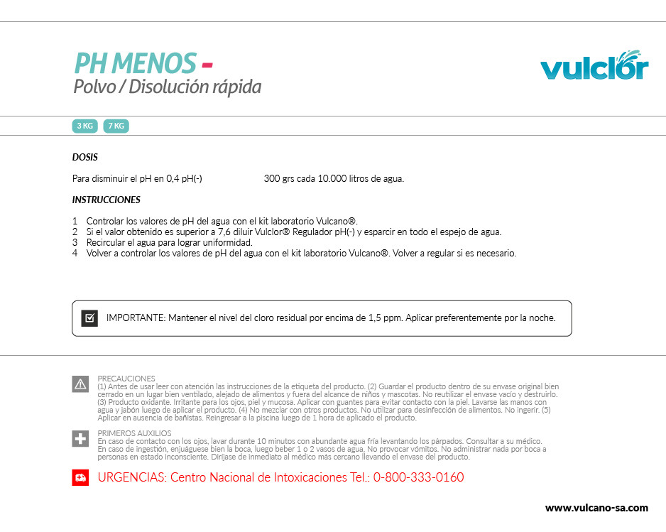 PH Menos(-) polvo (3 KG)