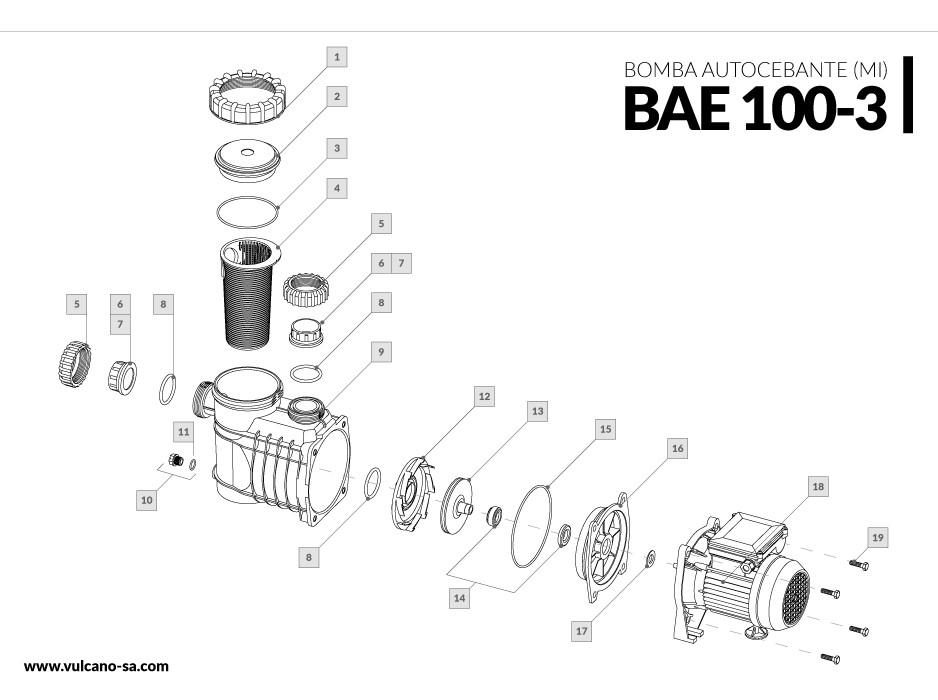 Bomba autocebante BAE 100-3 (MI)