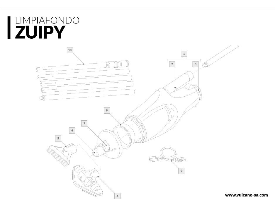 Zuipy - Limpiafondo inalámbrico